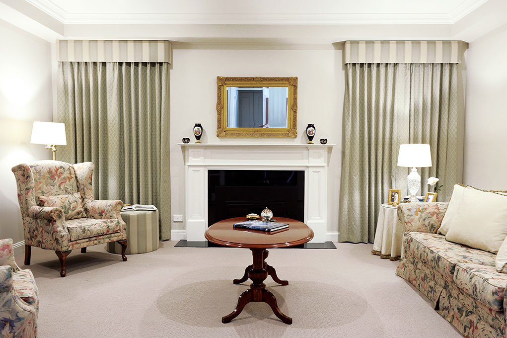 ... Thumb Of Formal Lounge Room Decor: Curtains, Pelmets, Ottomans And  Cushions ...